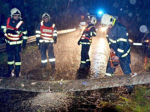 Hasiči odstraňují spadlý strom ze silnice.