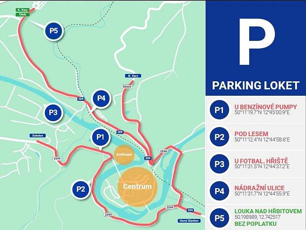 Aktualizovaná mapka parkovacích ploch.