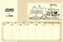 Okrašlovací spolek Loket připravil na letošní rok stolní kalendář s kresbami sokolovského malíře a kantora Zdeňka Machytky.