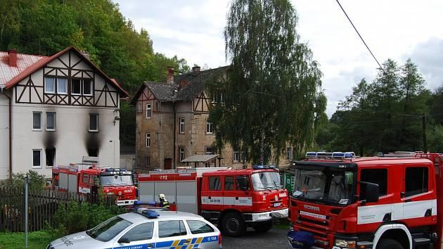 Požár bytu v Oloví