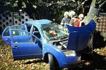 Řidič narazil do stromu, vyprostili ho hasiči.