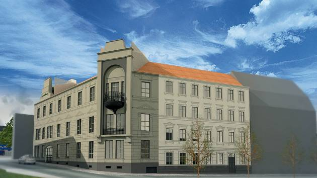 VIZUALIZACE. Takto by měl po rekonstrukci vypadat bývalý hotel Praha v centru Kraslic. Nesl by název Městský pivovar Kraslice.