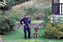POLICEJNÍ pes Ethor se svým psovodem vypátral pachatele, který prchal před policisty.