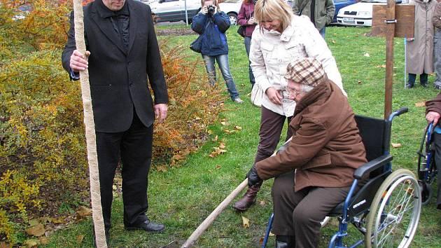 Květa Fišerová hází lopatou hlínu ke kořenům lípy. Strom přidržuje starosta Sokolova Zdeněk Berka.