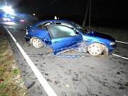 V zatáčce jel moc rychle, s BMW skončil řidič v příkopu.