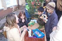 VÁNOČNÍ TRHY uspořádali krasličtí žáci na nádvoří školy. Výtěžek poputuje záchranné stanici v Bublavě.