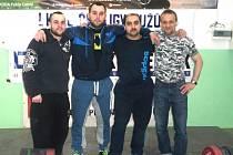 Vzpěrači TJ Baník SOkolov, zleva: Michal Michalíček, Lukáš Cibulka, Emil Balogh a Vlastimír Klímek mladší.
