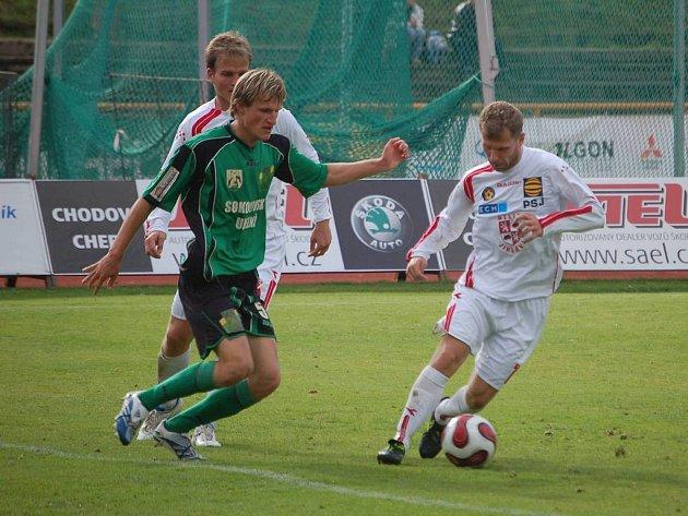 Mezi nejaktivnější hráče Baníku v sobotu patřil Petr Mach.