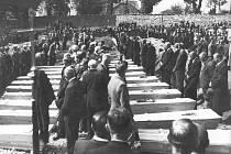 SMUTNÝ POHLED. Hromadný pohřeb obětí pochodu smrti. Všechny ženy, které došly až do Nýrska, byly postříleny jednotkou SS.