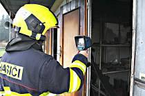 Kabiny fotbalistů zachvátil požár.