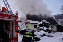 Požár ve Stříbrné.
