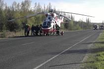 Vrtulník transportoval popálené dívky do plzeňské nemocnice.