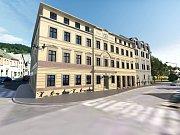 Na snímku vizualizace, jak by vypadaly dva přední domy po rekonstrukci. Zadní má být zdemolován.