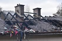 Požár střechy rodinného domu v Lokti.