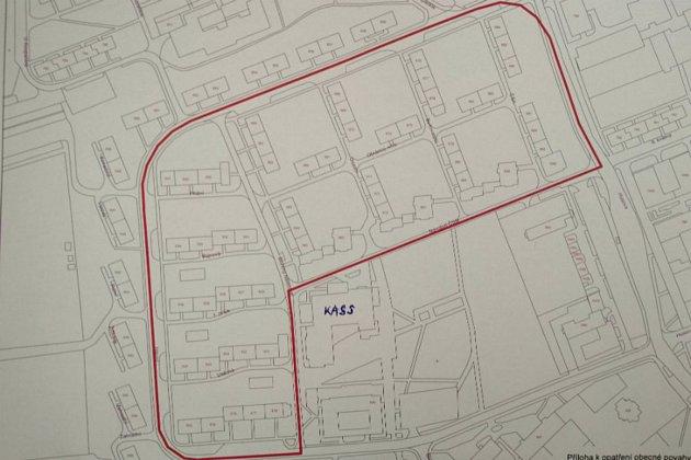Plánek lokality v Chodově, na kterou se vztahuje opatření obecné povahy.
