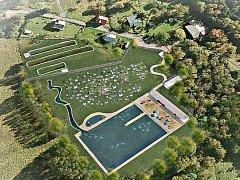 Vybudování přírodního biotopu by mohlo zachránit vodní nádrž Glasberg v Kraslicích. Na snímku vizualizace, jak by vypadal.