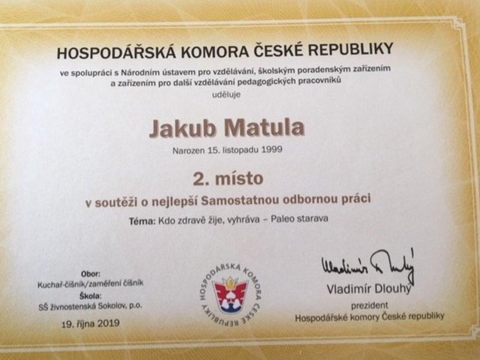 Jakub Matula získal prestižní ocenění.
