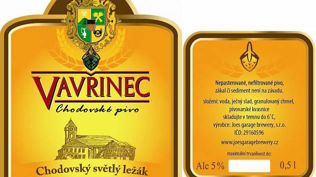 ETIKETA  ležáku Vavřinec, který budou moci exkluzivně ochutnat návštěvníci oslav výročí města Chodova.