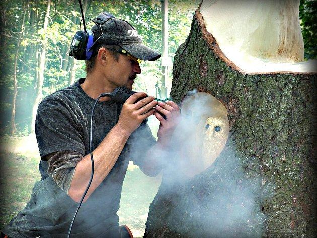 Ve stanici se zabydlely sovy ze dřeva. Vytvořil je řezbář Josef Frnka.
