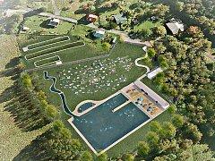VIZUALIZACE. Takto by se mohla proměnit vodní nádrž v Kraslicích na Glassbergu díky vybudování přírodního koupacího biotopu.