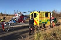Sražené díte transportoval vrtulník do nemocnice v Plzni.