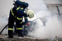 Cvičný zásah kraslických hasičů.