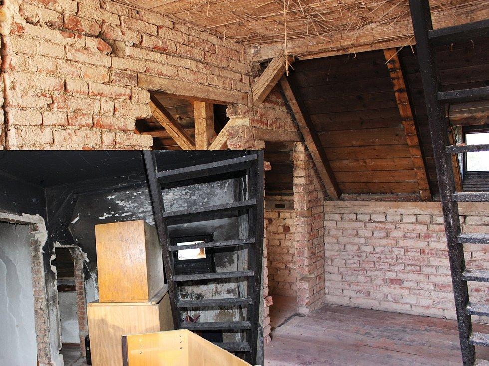 Po třech měsících od požáru  je na domku vidět kus udělané práce. Na snímku místnost pár dní po požáru a tři měsíce poté.