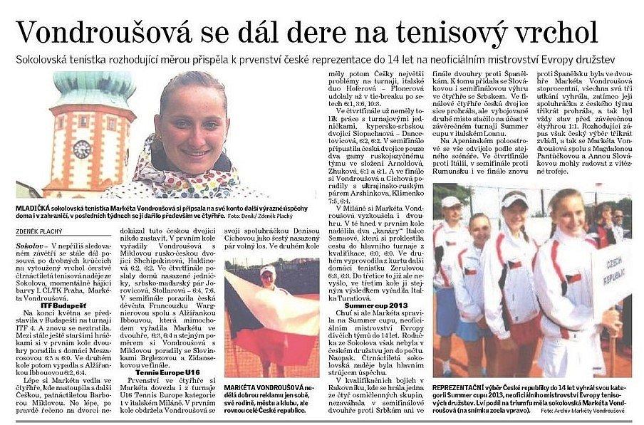 """ROK 2013. Markéta Vondroušová dál pokračovala v tvrdé práci na svém snu, který v jedenácti letech definovala jako """"zahrát si Wimbledon""""."""