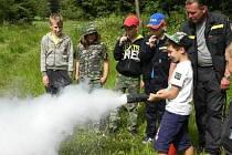 Hasičský tábor kraslických dobrovolných hasičů.