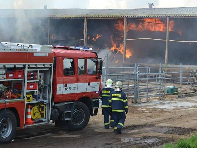 Při požáru haly na uskladnění sena v Čisté na Sokolovsku se zranili dva hasiči.