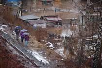 Zaplavená zahrádkářská kolonie v Kraslicích.
