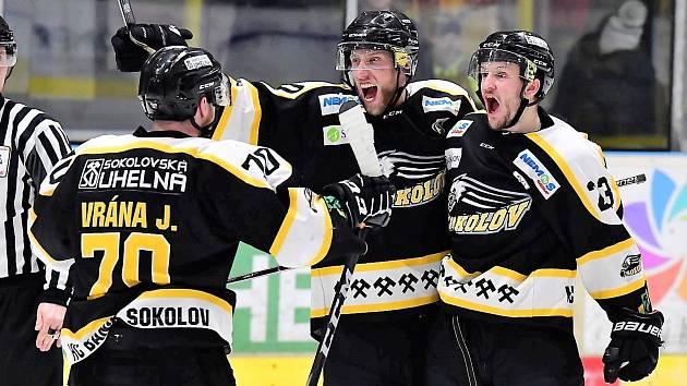 Utkání play off druhé hokejové ligy, Baník Sokolov - NED Nymburk.