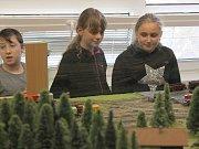 Výstava Model klubu přilákala v pátek i školáky. Modulové kolejiště jim předvedl i devítiletý Adam Němeček z Přeštic spolu se svým tatínkem.