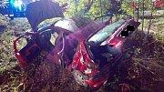 Ze zdemolovaného auta museli řidiče vyprostit.