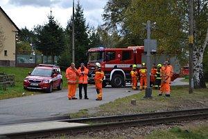 Nehoda na železničním přejezdu v Roudné u Soběslavi