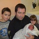 Rozálie Zíková z Tábora. Na svět poprvé pohlédla 28. listopadu ve 3.40 hodin. Po narození vážila 3020 gramůa doma má brášku Petra (5) a sestřičku Julii (3).