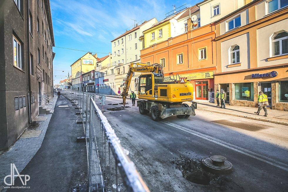 Oprava Budějovické ulice v Táboře.