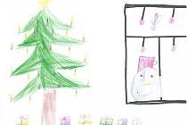 PLNO DÁREČKŮ. Takto vypadají Vánoce v rodině Alice Janů z Mladé Vožice. Autorce obrázku je osm let.