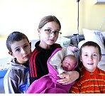 Noemi Kosíková z Borotína. Narodila se 29. listopadu v 8.17 hodin. Vážila 3860 gramů, měřila 48 cm a radost z ní mají sourozenci Sofie (10), Péťa (8) a Šimon (6).