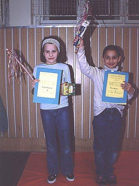 Naši medailisté: Anežka Kučerová (3. místo) a Pavlík Vácha (1. místo)