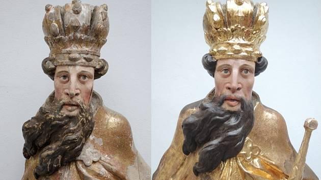 Socha svatého Zikmunda – vlevo stav před zásahem restaurátora, vpravo po zrestaurování.