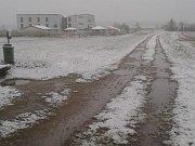 Sníh ve Veselí nad Lužnicí dne 28. dubna