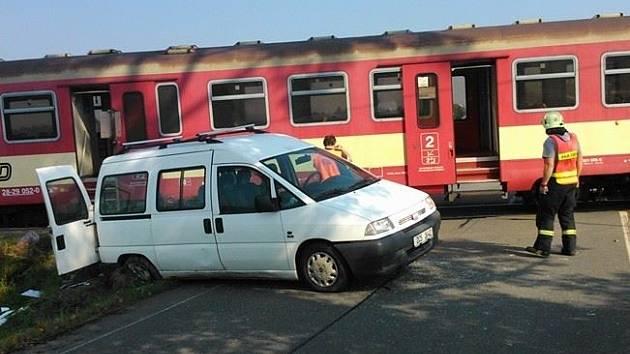 Nehoda na kolejích na Horkách.