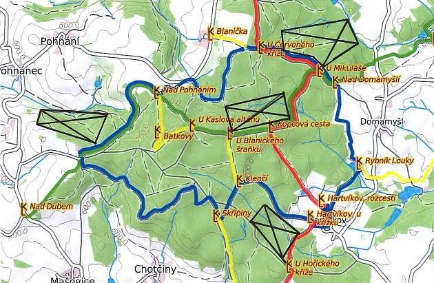 Omezení tras (značeno černě) na Polánce kvůli myslivecké naháňce vsobotu od 8.30do 16hodin.