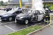 Pondělní požár auta v Táboře.