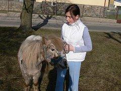 Karolína Březinová (na snímku) a Lucie Hrušová si vyšly na procházku s poníkem. Fotografování na návsi se mu příliš nezamlouvalo.