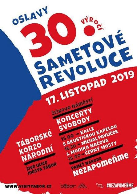Plakát koslavám 30.výročí sametové revoluce vTáboře.