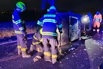 Nehoda osobního auta v Horkách u Tábora.