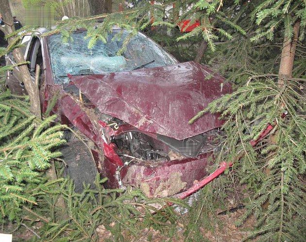 Auto řizené opilým řidičem skončilo v lese.