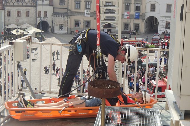 Táborští dobrovolní hasiči slavili výroční na Žižkově náměstí.